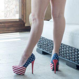 worn-red-white-blue-high-heels