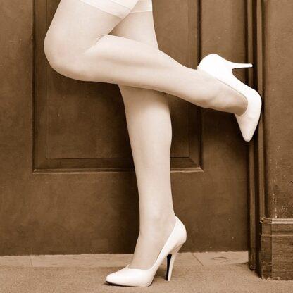 worn-white-high-heels